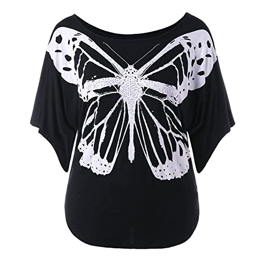 e1b3fc5b920 Image Unavailable. Image not available for. Color  DIANA S Tops Women  Casual Plus Size Print Butterfly T-Shirt Blouse