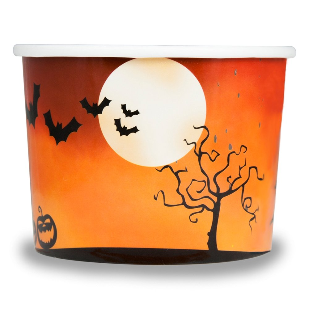 Halloween Themed Paper Dessert Cups - 12 oz Holiday Ice Cream Bowls - Orange Spooky Themed Paper Ice Cream Cups - Frozen Dessert Supplies - Fast Shipping! 50 Count