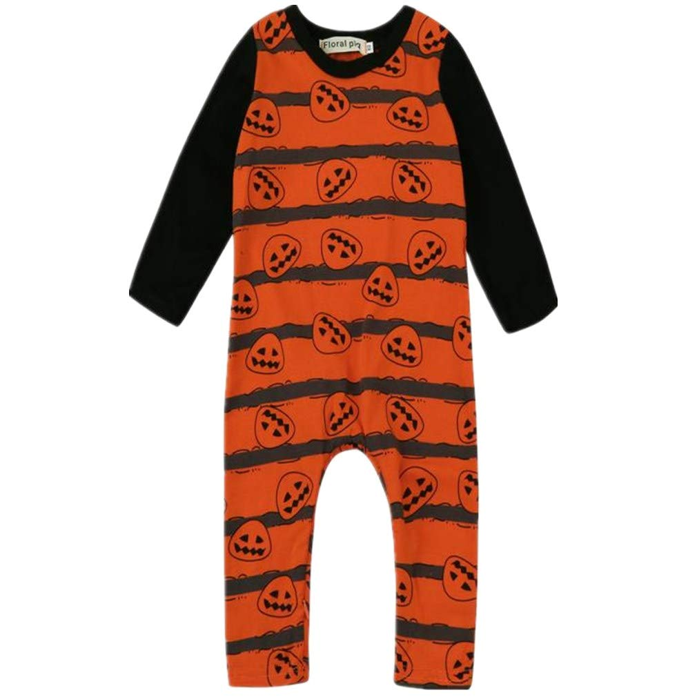 BHYDRY Halloween Newborn Toddler Baby Boys Girls Pumpkin Romper Jumpsuit Outfit Clothes