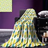 smallbeefly Green and Yellow Digital Printing Blanket Fresh Hawaii Foliage with Blooming Leaves on Fruits Summer Quilt Comforter Sea Green Apple Green Yellow