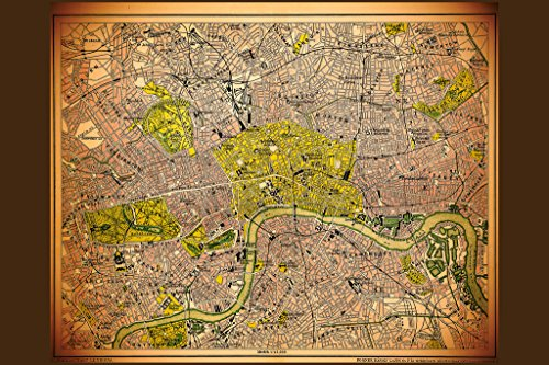 London Historic Antique Style Map Poster 18x12 inch