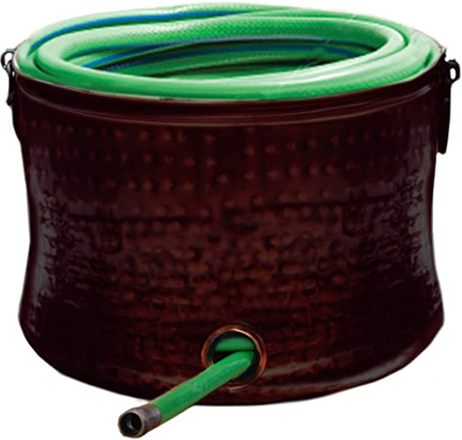 Deeco Consumer Products Copper Plated Hose Holder Storage Pot With Lid Amazon Co Uk Garden Outdoors