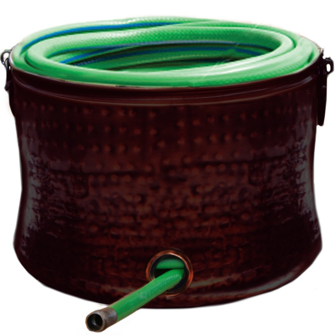 Deeco Consumer Products Copper Plated Hose Holder/Storage Pot with Lid