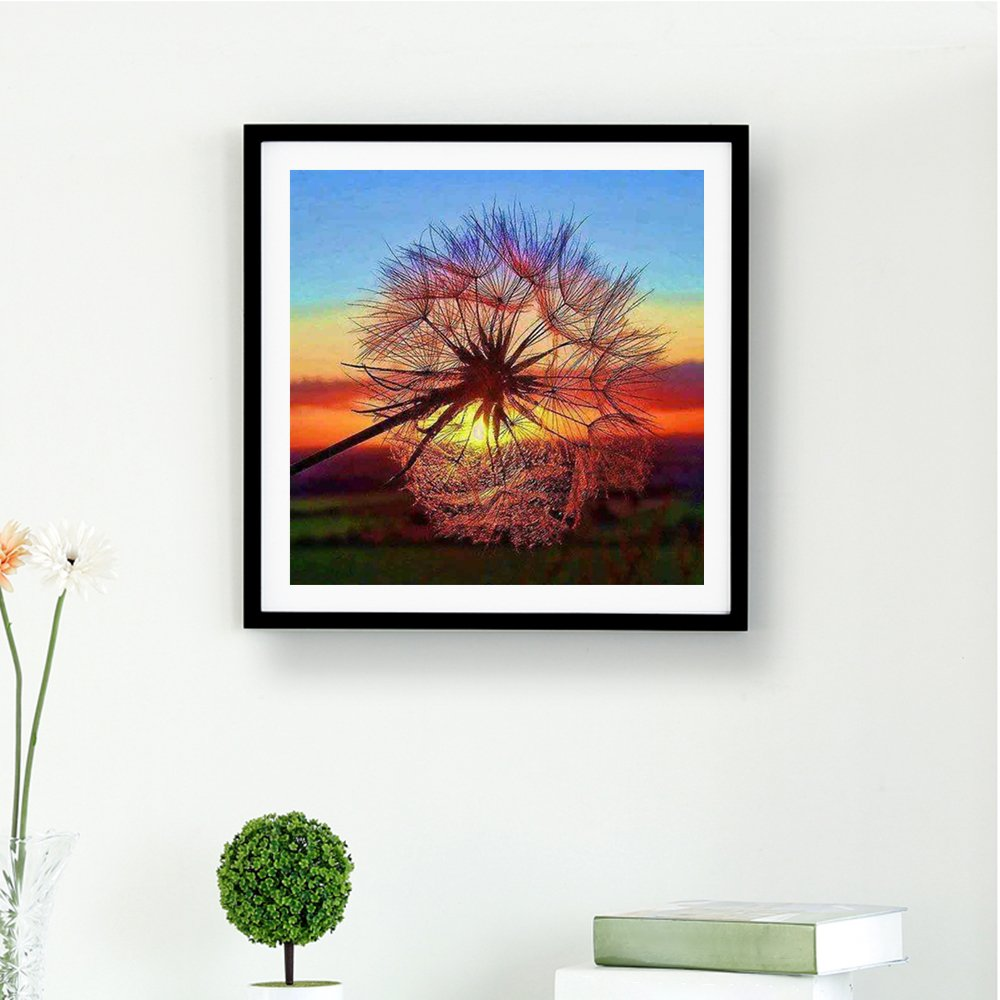 Walmeck 5D DIY Diamond Embroidery Dream Dandelion Sunset Cute Hedgehog Diamond Painting Rhinestone Home Decoration