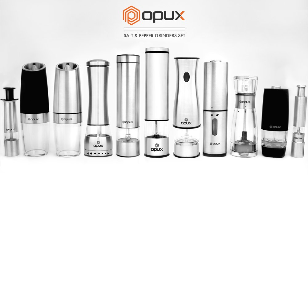 OPUX Premium Gravity Electric Salt and Pepper Grinder Set of 2   Battery Powered Salt Shakers, Automatic One Hand Pepper Mills with LED Light, Adjustable Coarseness (Black) by OPUX (Image #9)