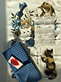 2018 Curious Kittens Cat Kitchen Dish Towel Calendar, Kitchen Drying Mat, and Cook Book Bookmark 3 Piece Bundle