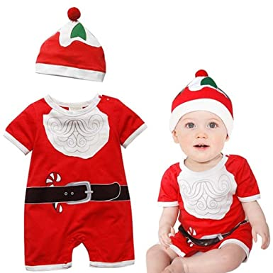 newborn infant baby boy girl christmas outfit set playsuit romper hat cap set my first christmas