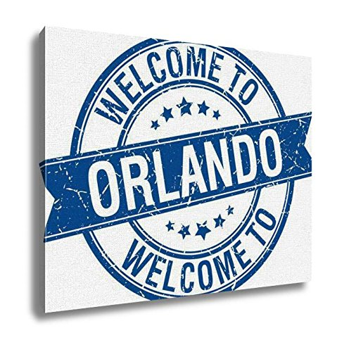 Orlando Painting - Ashley Canvas Welcome To Orlando Blue Round Ribbon Stamp Wall Art Decoration Picture Painting Photo Photograph Poster Artworks, 20x25