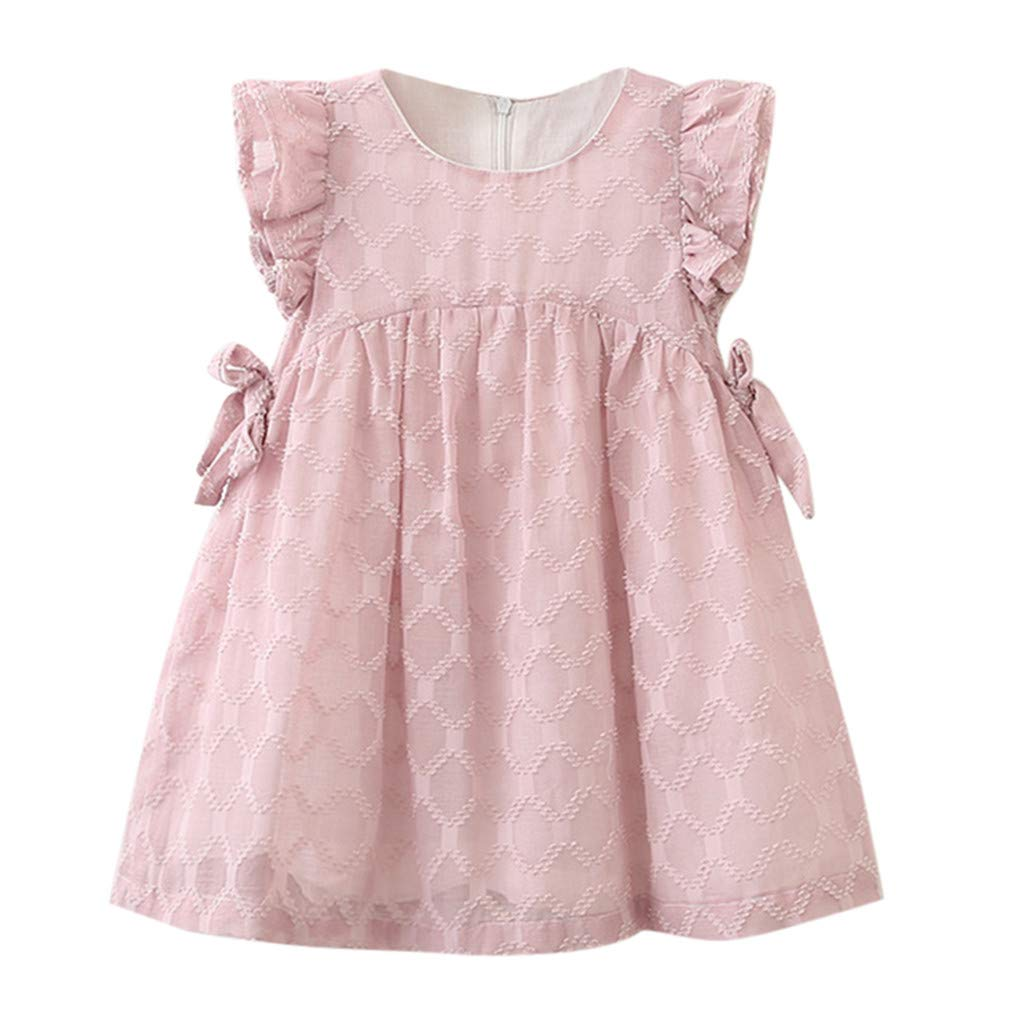 Baby Summer Dresses 12-18 Months,Toddler Kids Baby Girls Clothes Chiffon Bowknot Party Pageant Princess Dress,Girls' Fashion,Pink,2-3T