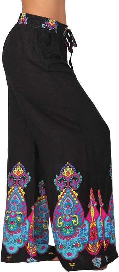 103-1 Pantaloni estivi leggeri da spiaggia Hippy Harem Aladin Ali Baba con pompon motivo floreale