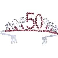 Frcolor Corona Cumpleaños 50 Años Diadema Cumpleaños Mujer Tiara Cristal con Peines (Plata Roja)