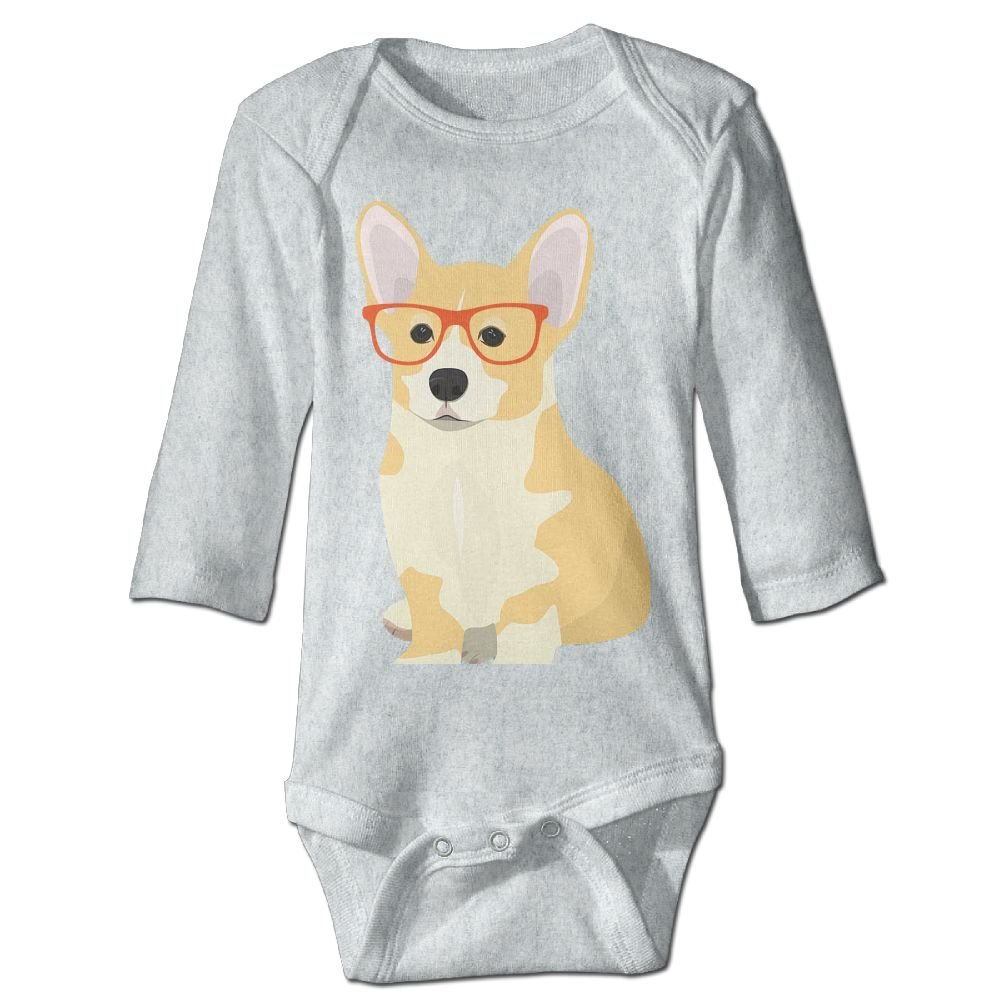 Infant Baby Cute Corgi With A Red Glass Long Sleeve Bodysuits For Unisex Boys Girls 100/% Cotton