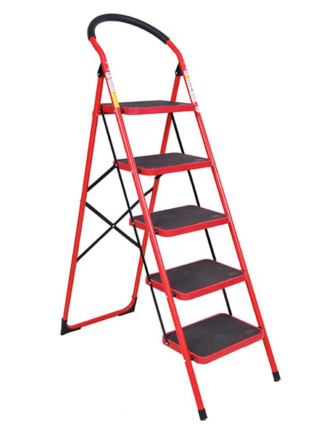 Gabz All-Purpose User-Friendly Step Ladder Red with Hand Grip Indoor//Outdoor Portable Household Stepstool//Seat 3 Steps