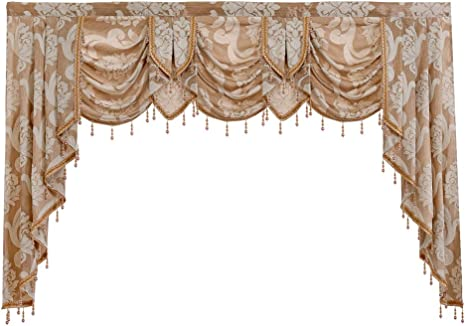Amazon Com Waterfall Valance Napearl European Style Jacquard Valance For Living Room Bedroom Fancy Window Valance Curtains With Beads 1 Swag Curtain 81w X 49l Inch Beige Kitchen Dining