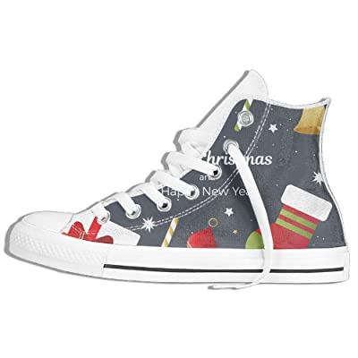 Christmas And New Year Women Men Lace Up High Top Canvas Sneakers Shoes Unisex