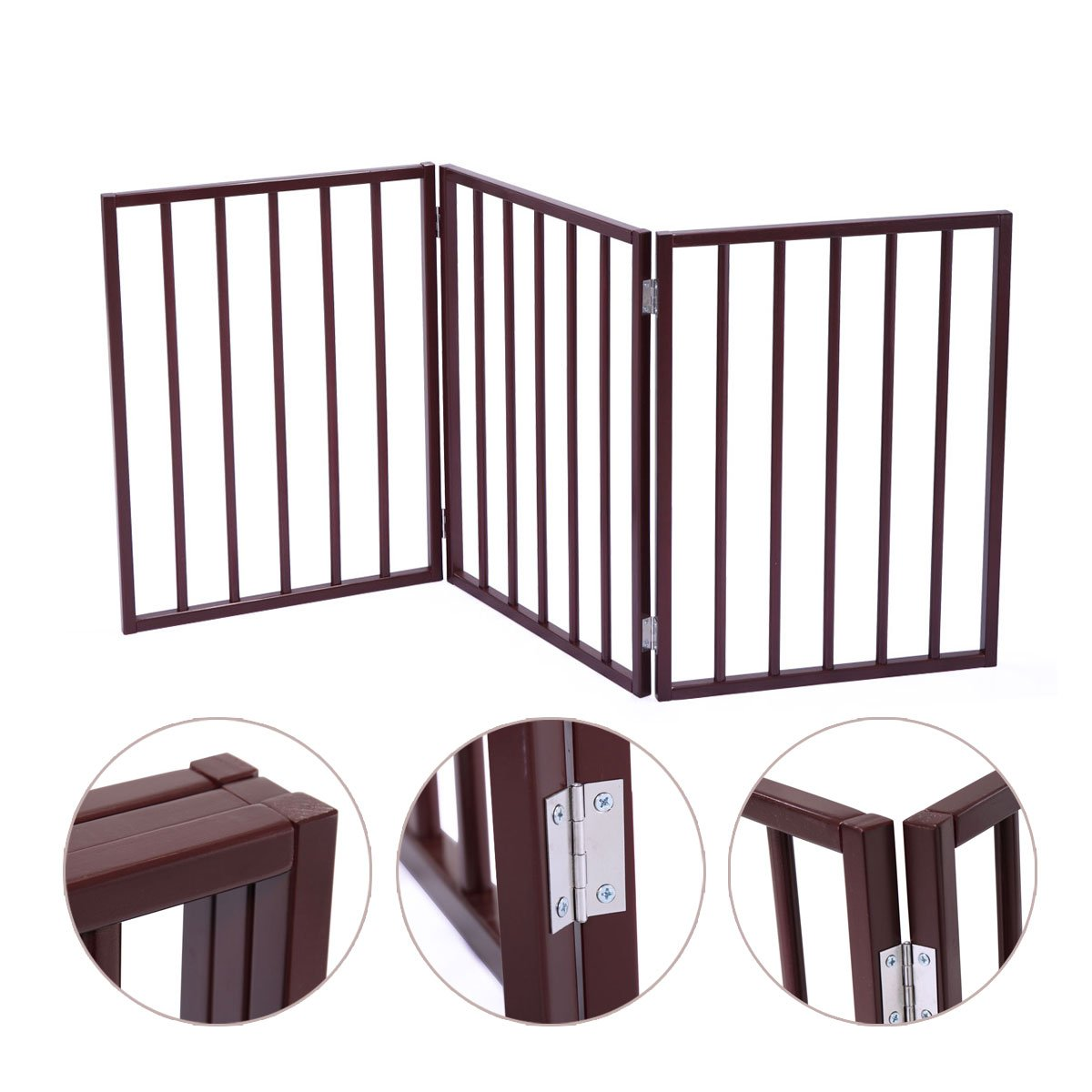 JAXPETY 24'' Folding Solid Wooden Pet Dog Fence Playpen Gate 3 Panel Free Standing Indoor Brown