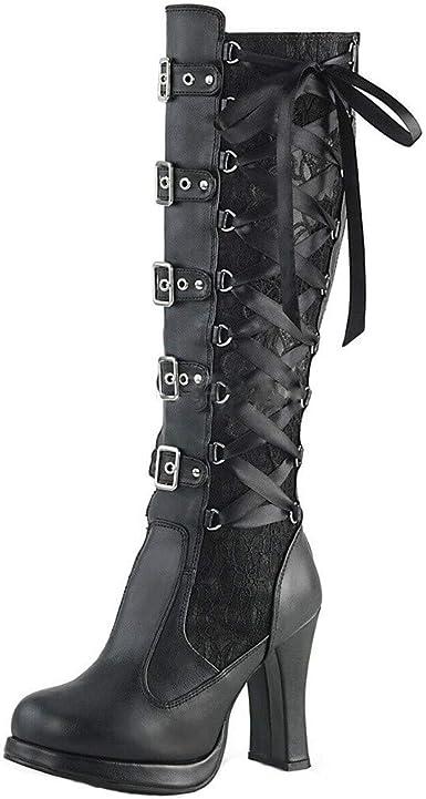 iHAZA Mode Bottes Femmes Halloween Cosplay Croix Liée en Cuir Genou Plate Forme Bottes Gothique Arcs Dames Bottes Chaussures pour Festival