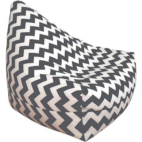 Choosy Grey And White Chevron Bean Bag Chair Large