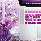 """DHZ Big Font Light Purple Gradient Keyboard Cover Silicone Skin Protector for MacBook Air 13"""" MacBook Pro All 13"""" 15"""" 17"""" inch (US Layout)(With or w/out Retina Display) and iMac Wireless Keyboard"""