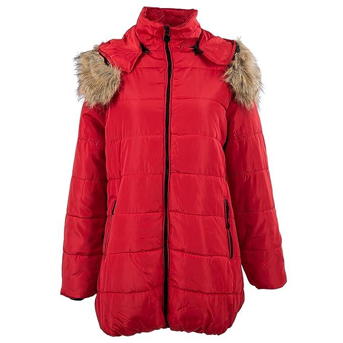 SODIAL Mujer acolchada de invierno chaqueta de abrigo chaquetas con cuello de piel caliente Rojo - L: Amazon.es: Ropa y accesorios