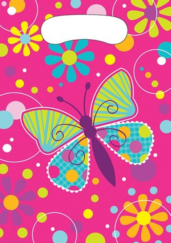 8-Count Party Loot Bags, Butterfly Sparkle