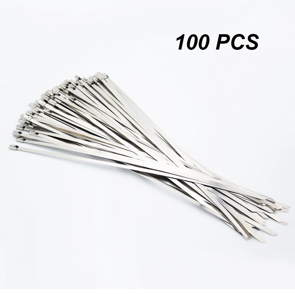 100 Pack 7.85 Inches Stainless Steel Exhaust Wrap Coated Locking Cable Zip Ties