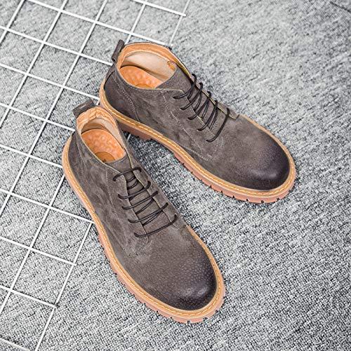 LOVDRAM Stiefel Männer Mode Martin Stiefel Herren Hohe Schuhe Lederstiefel Vintage Herrenschuhe Mode Lässig Werkzeug Schuhe