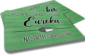Eureka North Carolina Home Sweet Home Towns Cities Provinces Door Mat Green Souvenir Gift Design Rubber Grip Non Skid Backing Rug Indoor Entryway Door Rugs Mats Pack of 2