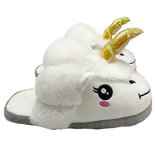 Zapatillas Felpa de Casa Zapatos Peluche Suave Cómodo Unicornio para Adulto Color Blanco: Amazon.es: Zapatos y complementos