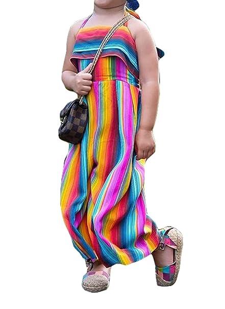 4356b832642 Kids Baby s Rainbow Print Sleeveless Bodysuits Long Wide Bib Pants Suspender  Overalls (100 1