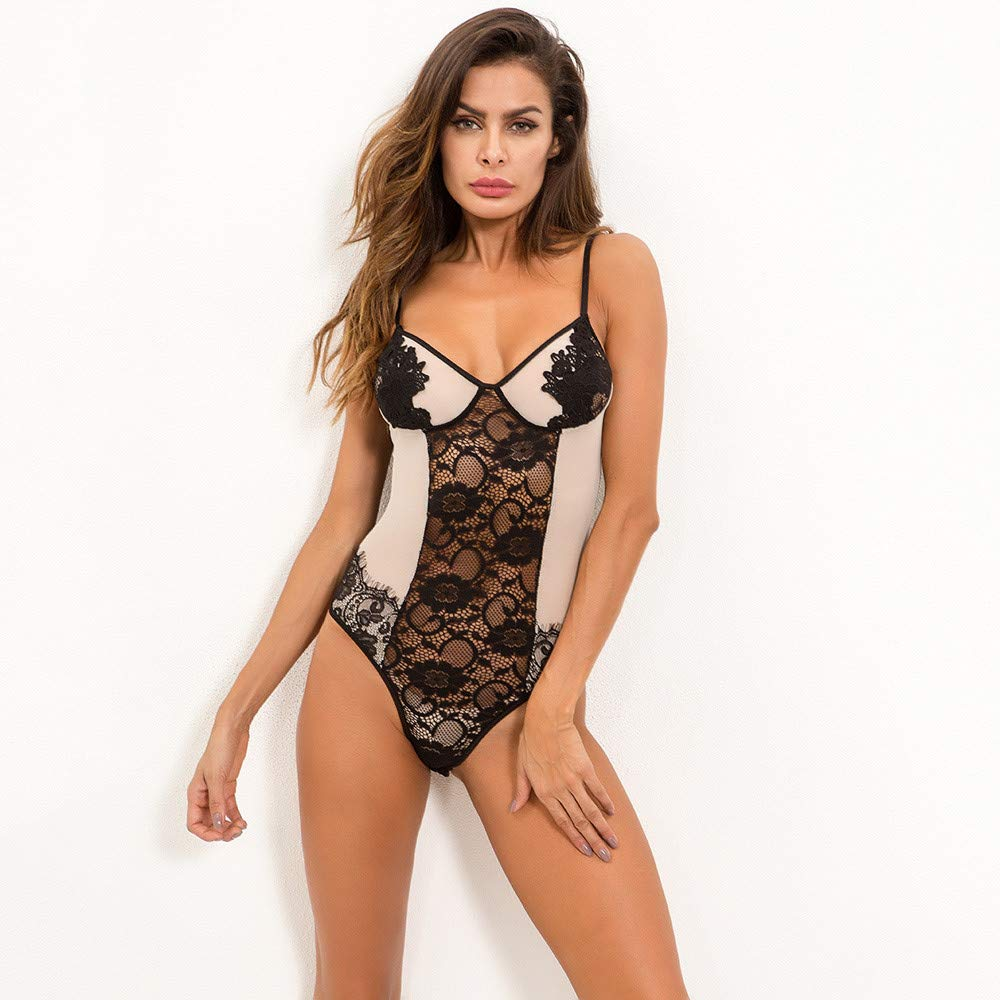 Mnyycxen Womens Sexy Lace Lingerie Dress Cupless Strappy Chemise Babydoll Nightwear at Amazon Womens Clothing store: