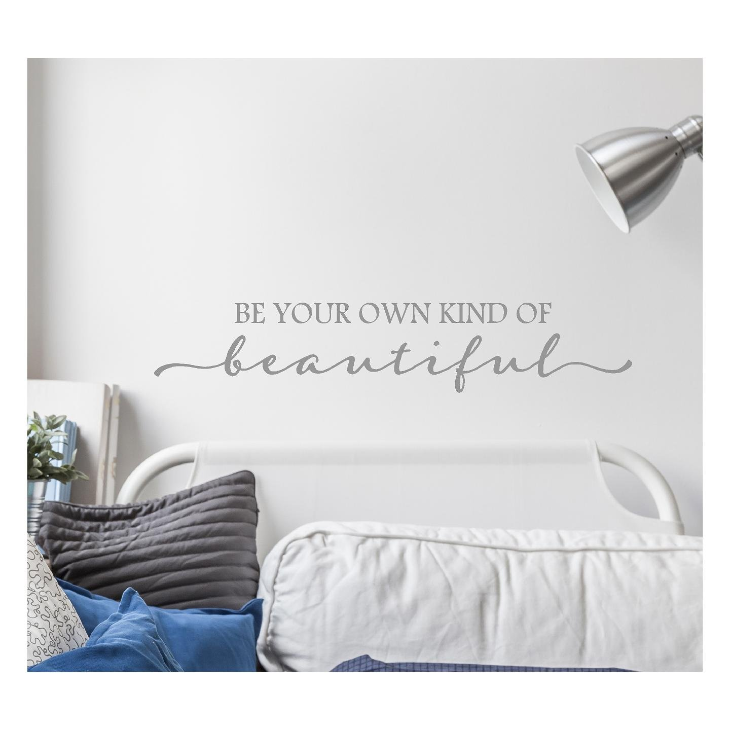Amazon com be your own kind of beautiful vinyl lettering wall decal sticker 6h x 32l metallic silver home kitchen