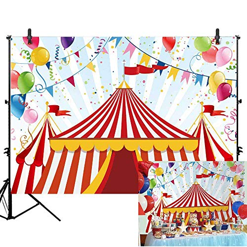 Allenjoy 7x5ft Circus Carnival Carousel Backdrop Red Tent Colorful Balloons Kids First 1st Birthday Party Photography Background Newborn Baby Shower Banner Cake Dessert Table Decors Photo Booth