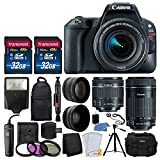 Canon EOS Rebel SL2 DSLR Camera + EF-S 18-55mm is STM Lens + EF-S 55-250mm is STM Lens + 64GB Memory Card + Backpack & Case + Wide Angle & Telephoto Lens + Remote Switch + UV Filters + Accessories