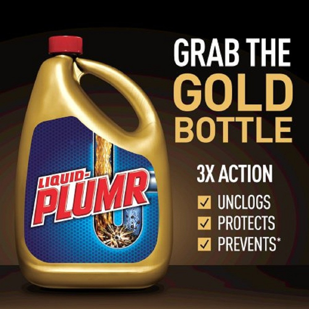 NEW! Liquid-Plumr Pro-Strength Clog Remover, Full Clog Destroyer, 32 Fluid Ounces, MADE IN USA, FAST SHIPPING (Gold (NEW))
