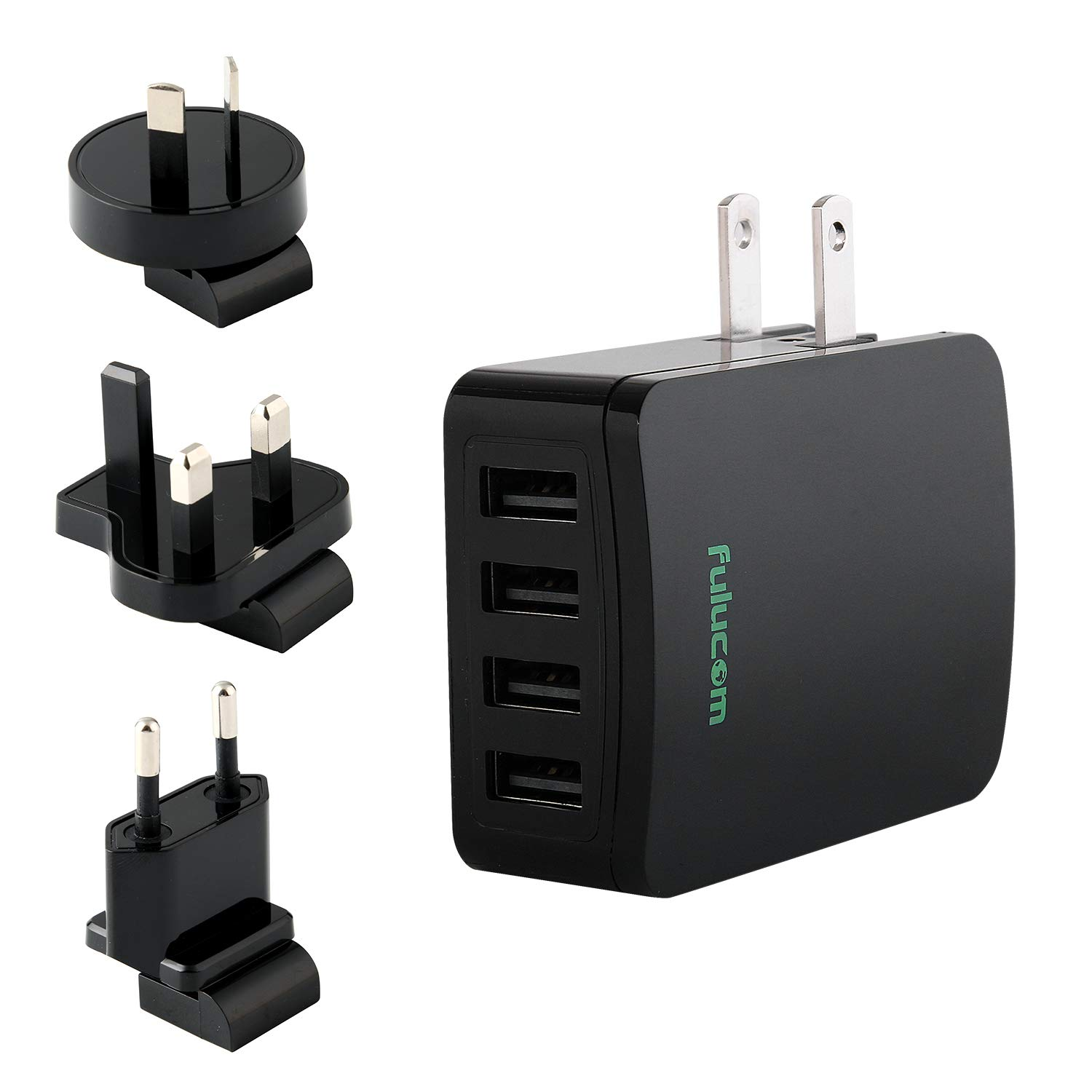 USB Wall Charger,4 Port Fast Charge Travel Charger with Foldable Plug,5V 5.4A,with US EU UK AU International Travel Adapters,for iPhone,Samsung,iPad, Android, Smartphones,ETL,FCC,CE,ROHS Certified