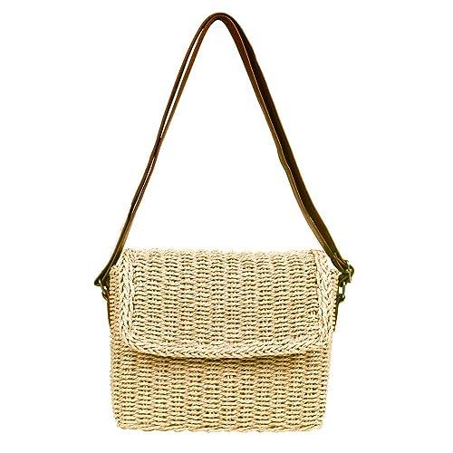 cc7868dd3ad Olyphy Straw Purse Shoulder Purse for Women Retro Woven Crossbody Bag  crochet Envelope Messenger Satchel for Summer Beach