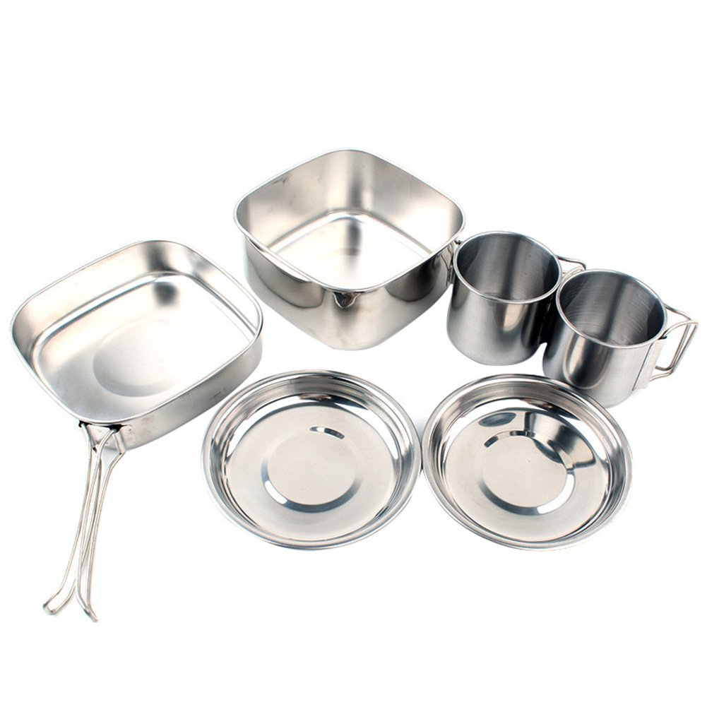 Camping Cookware Set, 6PCS Stainless Steel Camping Cookware Mess Kit Kitchen Utensil Outdoor Picnic Cook Equipment Lightweight Compact Durable Portable for Camping Hiking Backpacking Yunhigh