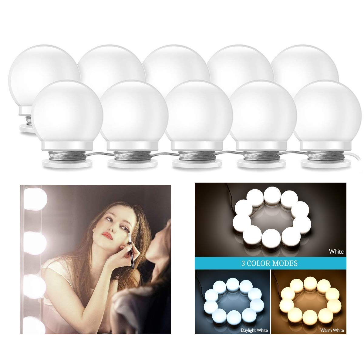 Vanity Lights, KeepTpeeK 3 Dimmable Color with 10 LED Makeup Mirror Light Bulbs Kit and Adjustable USB Charger LED Mirror Light for Bedroom Makeup Vanity Table(No Mirror Included)