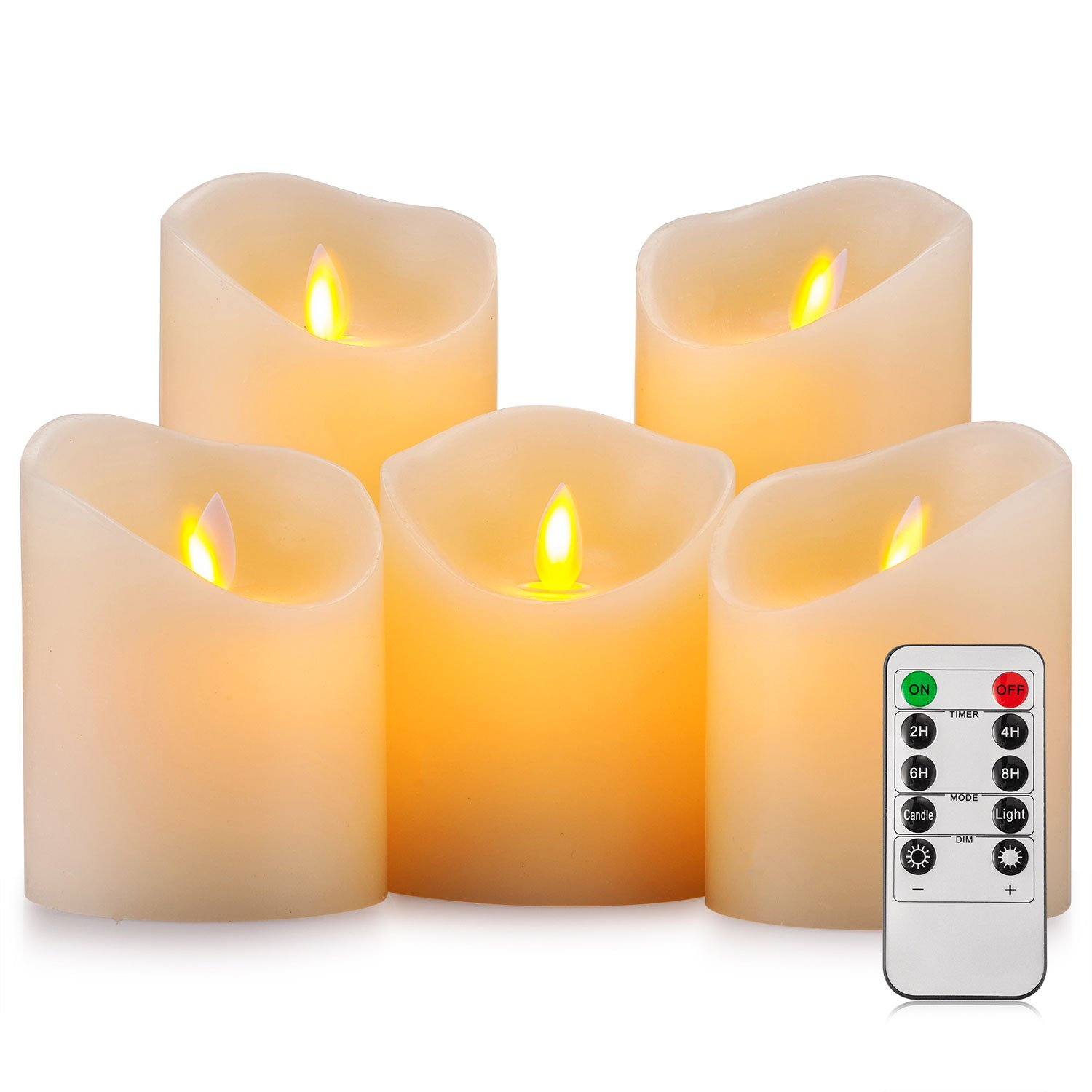 Pandaing Battery Operated Candles Set of 5 Pillar Realistic Moving Flame Real Wax Flameless Flickering LED Candles with Remote Control 2 4 6 8 Hours Timer by Pandaing