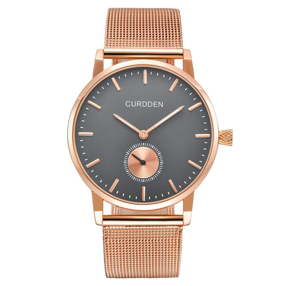 Men Watches Quartz Ultra Thin Dial Luxury Business Waterproof Stainless Steel Mesh Band Watch The Best Gift for Men