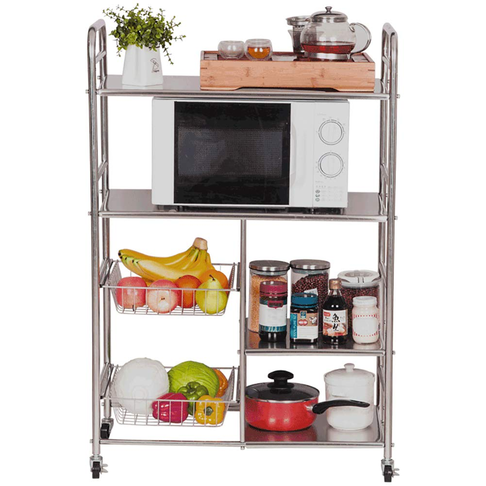 Kitchen Cart Kitchen Utility Cart with Locking Wheels,Stainless Steel Professional with Storage,Storage Rack Service Car,Laminate Height Adjustable by Kitchen Cart (Image #1)