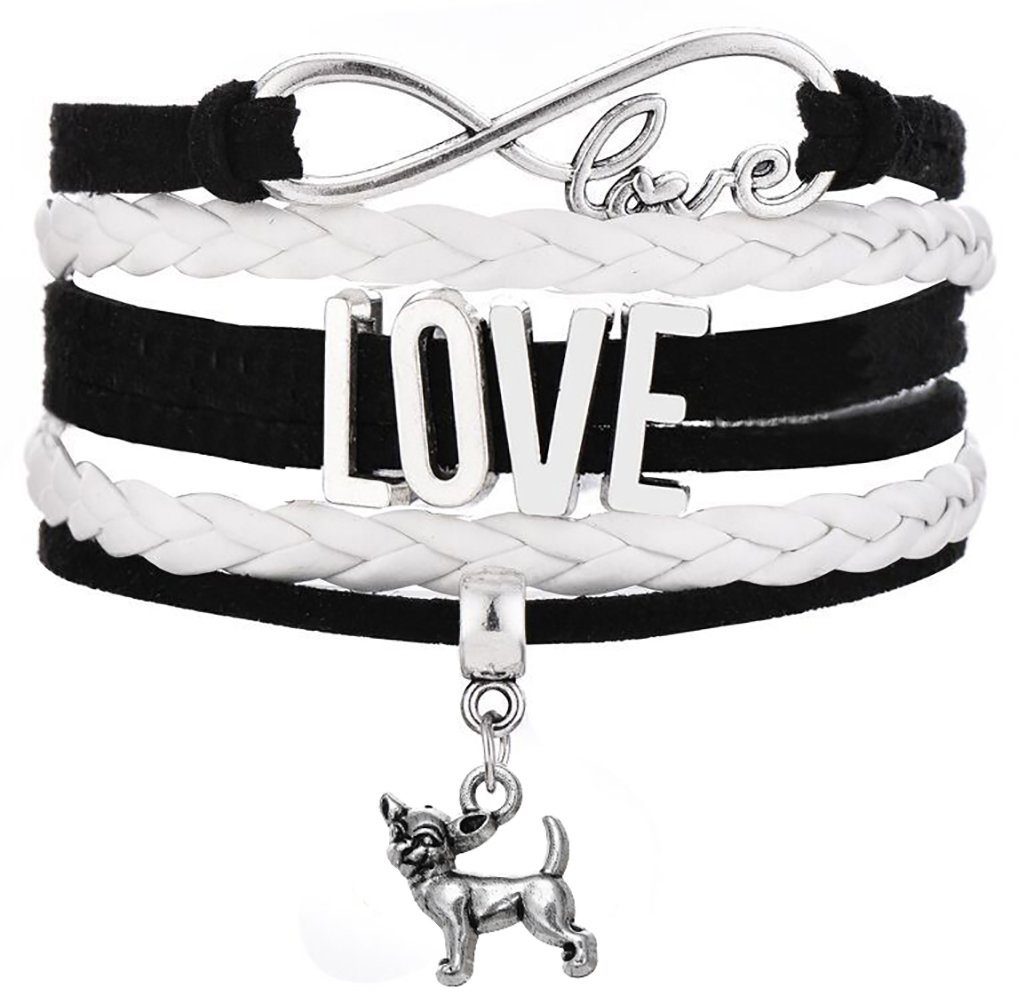 infinity Love Legemeton multistrato intrecciato con mini chihuahua fascino Lega colore: Black BiChuang B074Y57FDW_US