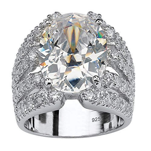 Oval-Cut White Cubic Zirconia .925 Sterling Silver Multi-Row Engagement Ring