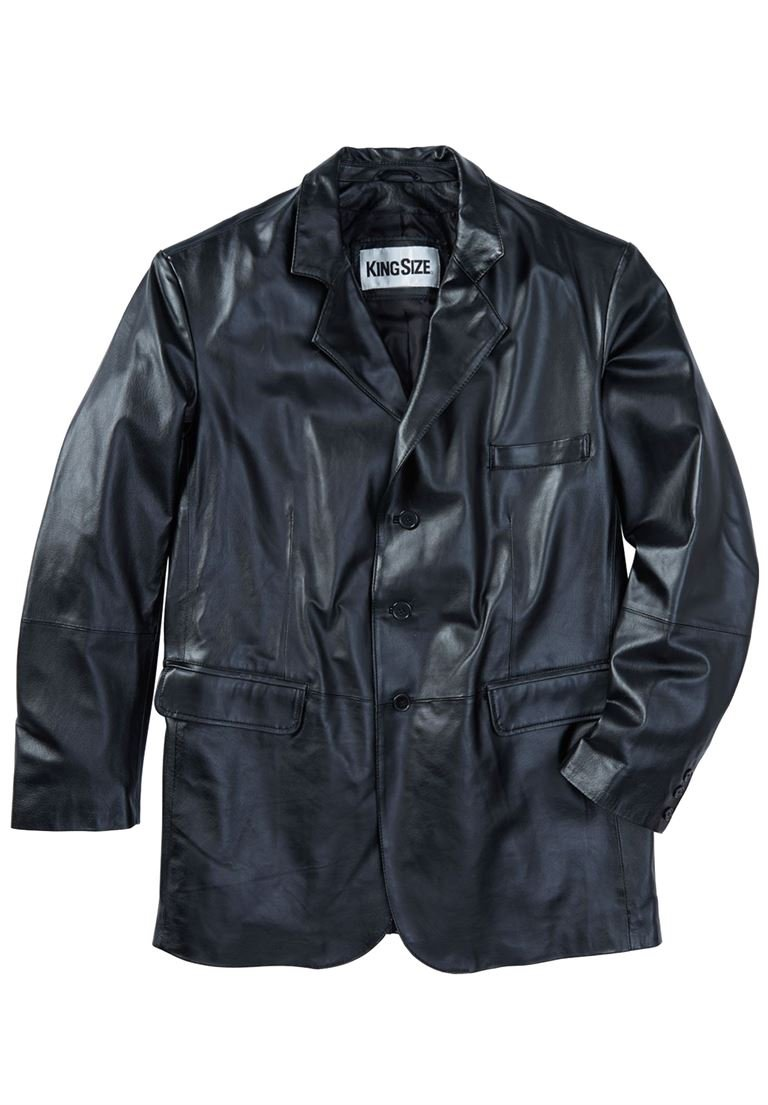 KingSize Men's Big & Tall Three-Button Leather Jacket, Black Big-7Xl