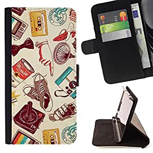 Momo Phone Case / Flip Funda de Cuero Case Cover - Cassette Retro Technology - Samsung Galaxy J3 GSM-J300