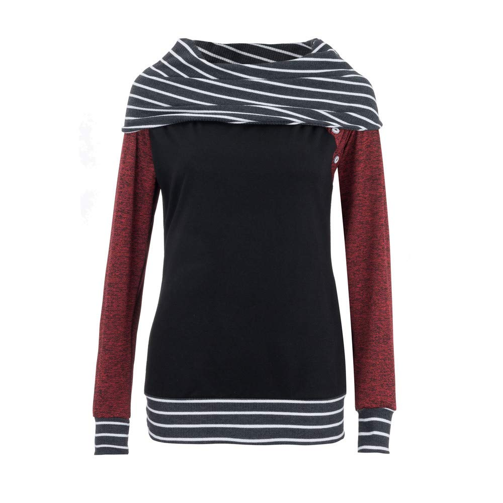 Malbaba Women Blouse Shirt, Fashion Women Skew Neck Long Sleeve Striped Patchwork Button Sweatshirt Top MNN-09550