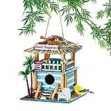 #8: Collections Etc Cute Beach Bungalow Coastal Theme Hanging Outdoor Garden Birdhouse