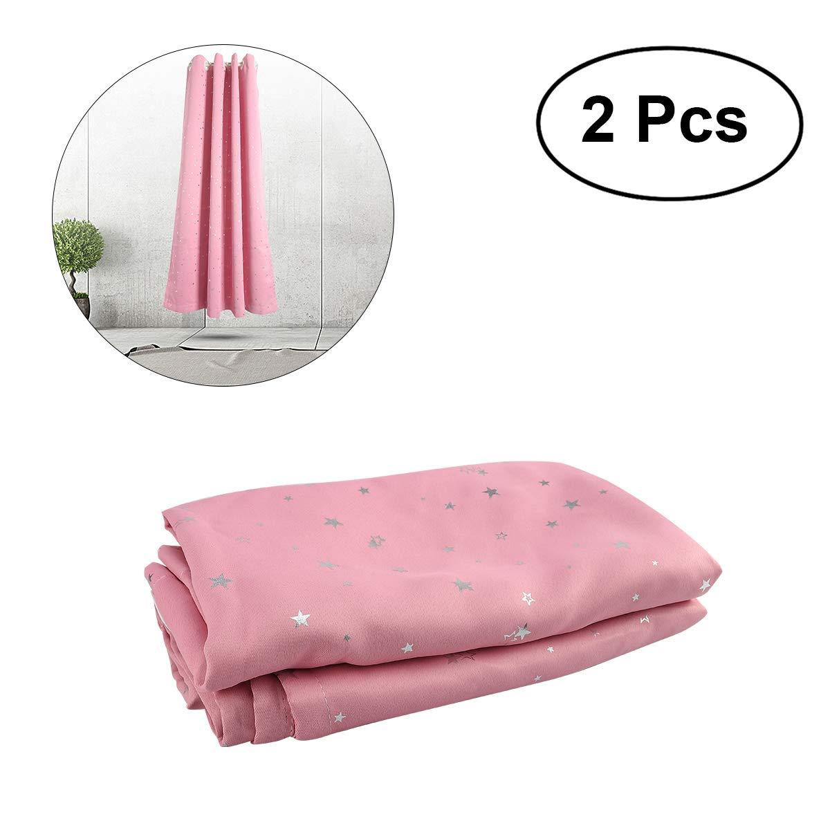 WINOMO Stelle Tende Stampa Tende Oscuranti Drapers Tende Termoisolanti 2pcs (Rosa)