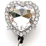 Diamond Heart Rhinestone Retractable Badge Reel / ID Badge Holder
